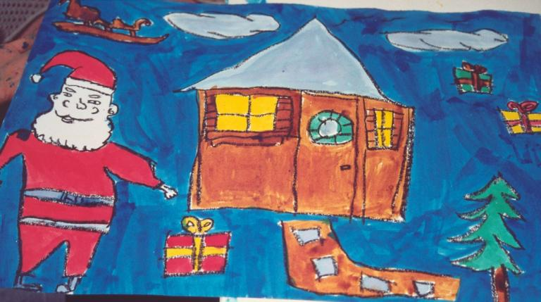 paysage de Noël aux encres