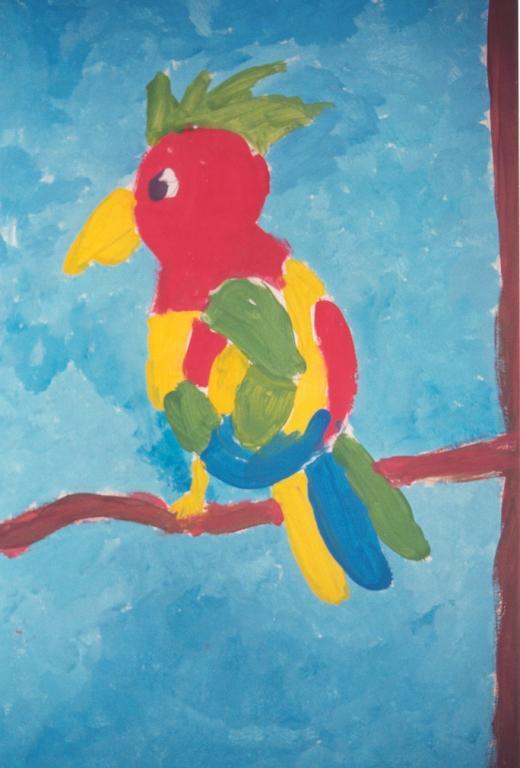 perroquet à la gouache
