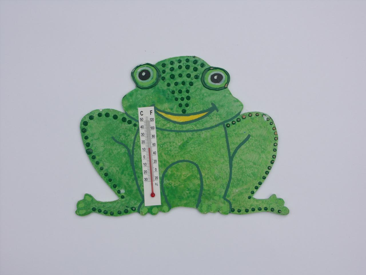 grenouille thermomètre en bois