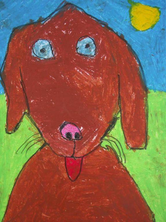 chien au pastel gras