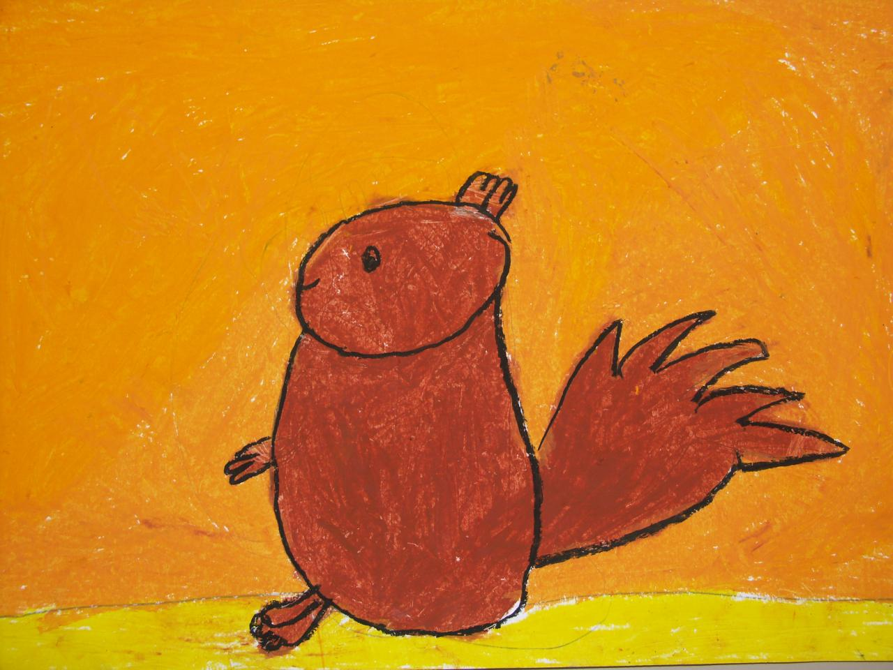 écureuil au pastel gras