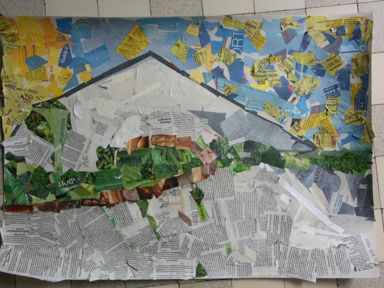 ce2 collage collectif d'après Cézanne